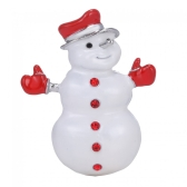 Bling Christmas Winter Snowman Brooch Collar Pin Cute Party Rhinestone Jewelry Scarf Buckle Holiday Gift