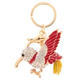Fashion Enamel Bird Dangle Crystal Pendant Key Ring for Car Key and Purse Bag