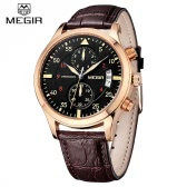 MEGIR Luxury Brand Business Men Wristwatch Leather Strap Water-resistant Casual Man