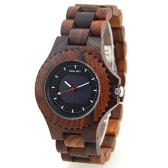 BEWELL Self-charging Solar Power Wood Watch Unique Simple Dial Plate Sandalwood Wristwatch for Men Women