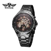 WINNER High Quality Men Automatic Mechanical Watch Big Dial Self-winding Business Skeleton Hollowed-out Wristwatch