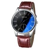BOSKINE New Male Man Brand Fashion Trendy Style Leather Band Analog Quartz Watch Wristwatch Water Resistance Blue Light Reflecting Glass