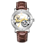 IK COLOURING Man Luxury Self-Winding Automatic Mechanical Watch 5ATM Water Resistant Genuine Leather Stainless Steel Skeleton Watch