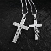 Punk Style Gothic Cross with Ring Pendant Bead Chain Necklace Fashion Lovers