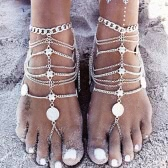 Retro Vintage Punk Antique Silver Gold Hollow Lady Anklet Bracelet Fashion Tassels Barefoot Anklets Foot Jewelry Chain Gift Beach Metal Alloy