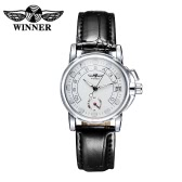 WINNER High Quality Lightweight Comfortable PU Leather Automatic Mechanical Watch Elegant Self-winding Analog Female OL Wristwatch with Sub-dial Calendar