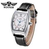 WINNER Brand Automatic Casual Men Mechanical Watch Luminous PU Leather Self-winding Business Men Dress Watch with Date Watch Box