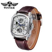 WINNER Brand Vintage Skeleton Automatic Men Mechanical Wristwatch Hollow-out PU Leather Self-winding Casual Man Dress Watch with Box
