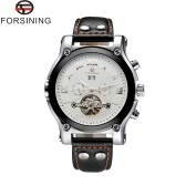 FORSINING Big Dial PU Leather Strap Men Mechanical Wristwatch Fashion Casual Watches Luxury Brand Men Watch with Day Date Month Display Five Needle Flywheel