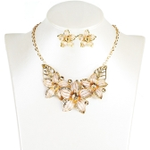 Fashion Jewelry Set Flowers Drop Diamond Short Necklace Earrings Women Party Accessory
