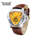 JARAGAR Fashion Cool Triangle Case Semi Automatic Men Mechanical Watch Luxury Leather Strap Man Casual Wristwatch with Date/Week/24H Sub-dials