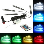 4 in 1 Wireless Remote Control Interior Atmosphere Light Bar Car Floor Dash LED Decoration Lamp Kit 12V