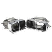 Pair of Dual Hole Car Stainless Steel Exhaust Tail Pipes Muffler Tips for Benz S300/350/600 GL350/400/450 2007-2012