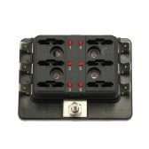 6 Way Blade Fuse Box Holder with LED Warning Light Kit for Car Boat Marine Trike 12V 24V