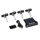Wireless Solar Car TPMS Tire Pressure Monitoring System with 4 Internal Sensors Bar/PSI Unit