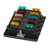 10 Way Blade Fuse Box Holder with LED Warning Light Kit for Car Boat Marine Trike 12V 24V