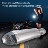 51mm Universal Motorcycle ATV Frosted Stainless Steel Exhaust Pipe Muffler with Hexagonal Artificial Carbon Fiber Tail