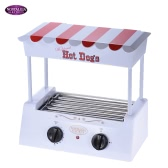 Nostalgia HDR565 Old Fashioned Household Hot Dog Roller Grill Maker Hot-dog Barbecue BBQ Machine with Bun Warmer 5 Rollers