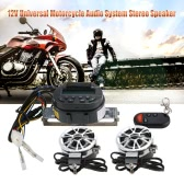 12V Universal Motorcycle 2 * 7W Waterproof Audio System Stereo Speaker with LCD / SD Card  Slot / FM Radio / Alarm / Remote Control