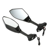 Pair of Universal Motorcycle Rearview Mirror Motorbike Side View Mirrors with LED Turn Signal Light for Honda Yamaha