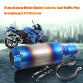 51 mm Refit Exhaust Muffler Blueing Stainless Steel Muffler Pipe for motorcycle ATV Universal