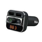 Bluetooth FM Transmitter Handsfree Phone Calling Car Kit MP3 Player with TF Card Slot Dual USB Port Car Charger for iPad iOS Android Mobile Phone GPS Navigator