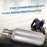 51mm Universal Motorcycle ATV Frosted Stainless Steel Exhaust Pipe Muffler