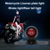 12V Universal Motorcycle Black Rear License Plate Light Taillight Brake Stop Lamp with Mounting Bracket