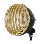 H4 12V 55W 5-inch Motorcycle Scalloped Headlight with Grille Lampshade for or Harley Chopper Bobber