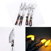 4 X LED Universal Motorcycle Motorbike Skull Turn Signal Light Indicator Lamp Amber Clear Lens