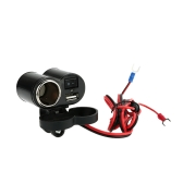 5V/1.5A USB Socket with Blue LED Indicator + Cigarette Lighter Power Socket with ON/OFF Switch 12V Car Modification DIY Accessory for Motorcycle Scooter ATV