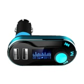 Car FM Transmitter MP3 Player with TF Card Slot Aux-in Dual USB Port Car Charger for iPad iPod iOS Android Mobile Phone