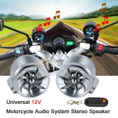 12V Universal Motorcycle 2 * 7W Waterproof Audio System Speaker with FM Radio / TF Card  Slot / Mini USB Port / AUX-IN / Flash Light / Remote Control