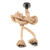 Lixada 100cm AC110V E26/E27 Double Head Vintage Hemp Rope Pendant Lamp
