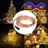 20m/66ft 200 LEDs Outdoor Copper String Wire Lights Dimmable LED String Lights Flash Strobe Water-resistant IP65 Decorative Firefly Rope Lights Warm White with DC 6V Adapter&Remote Control