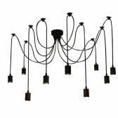 Lixada 9 Arms E27 Ceiling Spider Pendant Lamp Light Antique Classic Adjustable DIY Retro Chandelier Dining Hall Bedroom Home Lighting Fixture