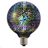 6W E27 LED 3D Light Bulb 85V-265V Creative Colorful Decorative Lamp G125 Filament Fireworks Ball Light for Home Bar Cafe Party Wedding Show Ornament Store Decor
