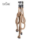 Tomshine 1.5M AC 110-130V Triple E27 Holders 3 Heads Hemp Rope Pendant Light Ceiling Lamp Creative Personality Industrial Vintage Retro Country Style for Restaurant Cafe Bar Home Decoration