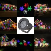 4W 4LED Moving White Snowflake Film Christmas Xmas Show Projector Light Outdoor IP65 Water Resistant Pattern Decoration Lamp for Landscape Lawn Garden Party Wedding