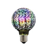 6W E27 LED 3D Light Bulb 85V-265V Creative Colorful Decorative Lamp A60 Filament Fireworks Ball Light for Home Bar Cafe Party Wedding Show Ornament Store Decor