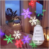 E27 Base 4W Auto Rotating 4LED Moving Dynamic Snowflake Film Projector Bulb Light Pattern Decoration Lamp for Christmas Xmas Party DJ Home Room