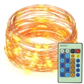 10M/33ft 100 LEDs Copper String Wire Light LED Warm White Starry Light Voice Activated with Adapter and Remote Control for Christmas Wedding Birthday Festivals