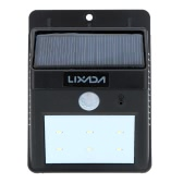 Lixada Rechargeable Solar Power PIR Motion & Light Sensor Wall Light Lamp Outdoor Garden Pathway Garage Stairways