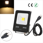 Lixada Real Power 20W IP65 Water Resistant LED Flood Light Lamp with US Plug 85-265V for Garden Outdoor Illumination