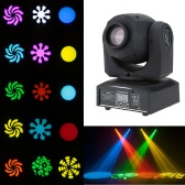 Lixada DMX-512 Mini Moving Head Light RGBW LED Stage PAR Light with Shapes Automatic Professional 9/11 Channel Party Disco Show 25W AC 100-240V Sound Active