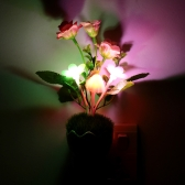Lixada LED Color Change Light Sensor Energy Saving Mushroom Flower Plant Potted Bed Decor Night Lamp Home Illumination