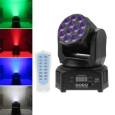 Mini 12 LEDs 40W RGBW Wash Rotating Moving Head Stage Effect Light 7/13 Channel DMX512 Sound-activeated with Reomote Control for Indoor Disco KTV Club Party