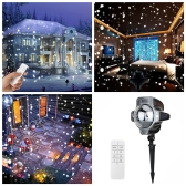 Tomshine LED Snowflake Projector Light IP44 Water-resistance Rotating Speed Adjustable Timing Snow Lamp with Remote Control for Outdoor Indoor Xmas Halloween New Year Festival Decoration