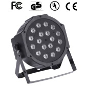 18W AC90-240V 18 LEDs RGB Flat Par Light Channel 1/2/3/4/5/6/7 Stage Effect Light DMX 512/ Sound Activated/ Master Slave/ Auto Run/ for Disco Stage Bar DJ Club Home KTV Show Par Lamp