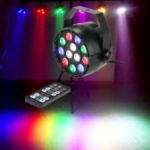 Lixada 15W 8 Channel AC 100-240V DMX-512 Strobe RGBW LED Stage PAR Light with  Remote Controller for Party Disco Show